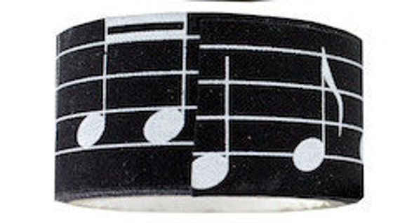 Music Ribbon Twill Washi Tape Self Adhesive Black White One Roll