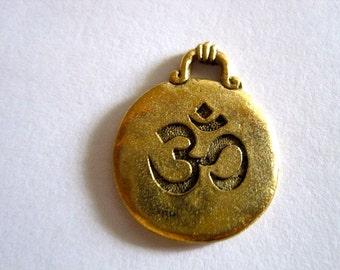 Ohm Antique Gold Disc Pendant