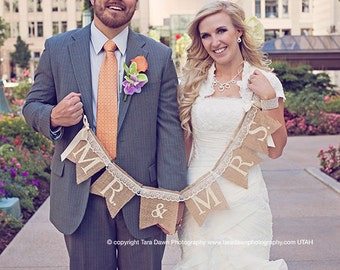 Mr. & Mrs. burlap and lace wedding garland - Wedding garland - Photography prop - lace banner