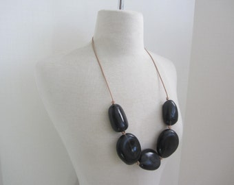 Parlour Resin  Design Rock Out Smokey Black Long Adjustable Statement Necklace