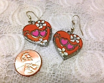 Orange and Pink Heart Earrings