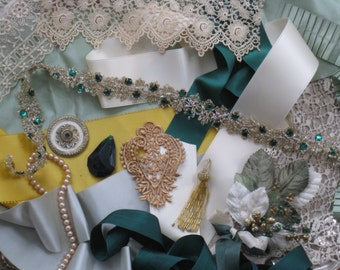 Elegance Trims & Treasures - Premium Ribbons (6 Yards), Lace, Millinery- Gold Green Cream - Antique Vintage Inspiration Kit