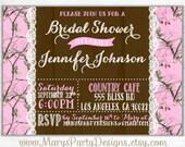 Pink Camo Wood N Lace Bridal Shower Invitation - DIY Printable File