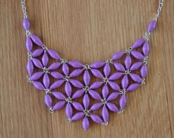 Purple Paper Bead Daisy Bib Necklace