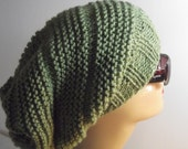 Knit Beret Green Knit beret gift for her knit slouchy beret knit chunky beret beanie hat winter hat
