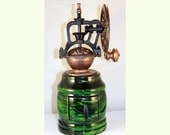 Hand Crank Coffee Grinder in Green Tiger Maple with Antique Style Grinder
