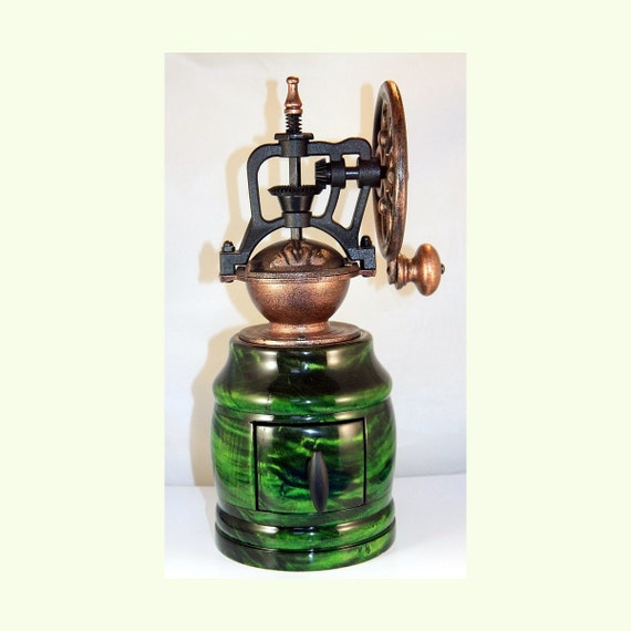 Hand Crank Coffee Grinder ~ Hand crank coffee grinder in green tiger maple with antique