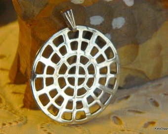 Sterling J. Curtis handmade Native American Pendant pin Marked.