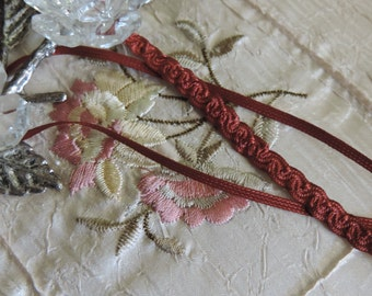 "Beautiful Vintage 1/8""  Rust  Silky Rayon Decorative Braided Patterned Flat Sewing/Self Ruching/ Sewing Trim"