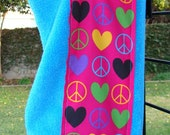 Peace and Love Children's Hooded Bath Towel