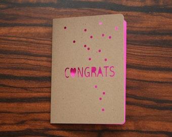 Congratulations Card Neon Pink Confetti (Blank Card) Die Cut Card