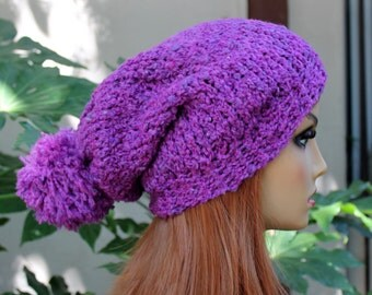 Hand Knit, Plum Purple, Slouchy, Acrylic, Over Sized, Beanie Hat with Two Inch Headband and Large, Shaggy Pom Pom Man Woman Fall Winter