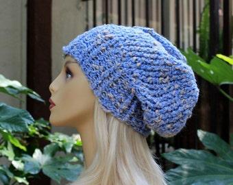 Hand Knit, Light, Sky Blue, Cream Flecks, Acrylic/Polyester/Cotton, Slouchy, Over Sized, Beanie Hat with Four Inch Headband Man Woman