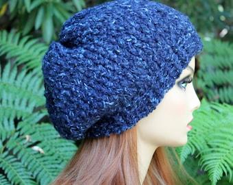 Hand Knit, Wool/Acrylic, Dark Teal with Light Aqua Flecks, Slouchy, Beanie Hat with Two-Inch Headband Women Men Fall Winter Back to School
