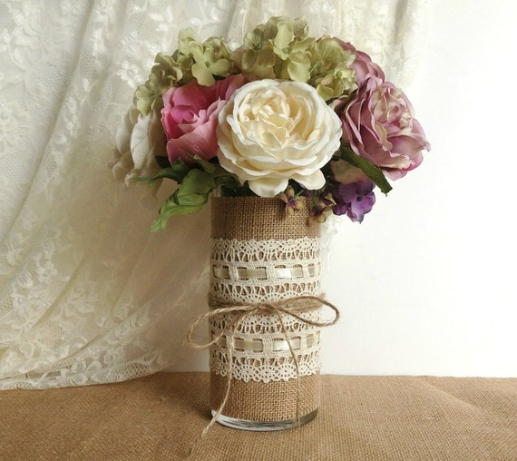 Burlap and lace covered glass vase wedding decoration by for Burlap and lace wedding decorations