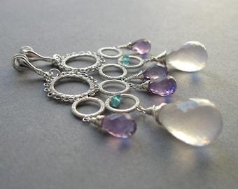 Lady of Dew Drops - Chandelier Earrings Sterling Silver and Gemstones