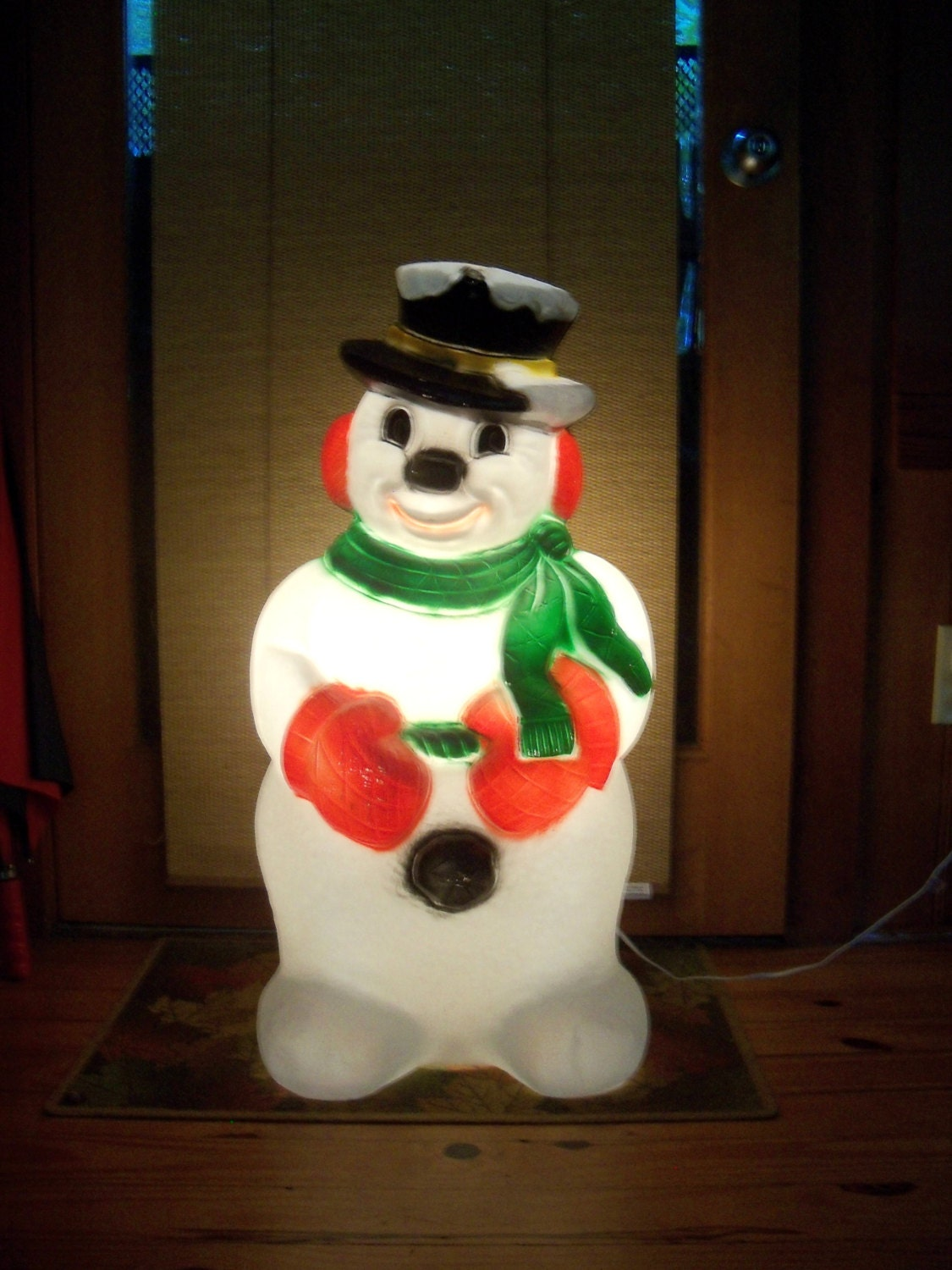 Giant 30 lighted blow mold snowman outdoor by for Christmas snowman decorations