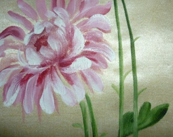 Vintage 20s hand painted silk fabric covered boudoir box Chrysanthemums chocolate box