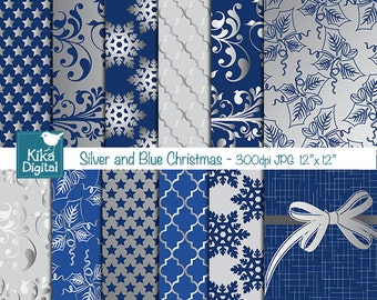 Blue and Silver Christmas Digital Papers - Scrapbooking Papers - design, invitations, background - INSTANT DOWNLOAD