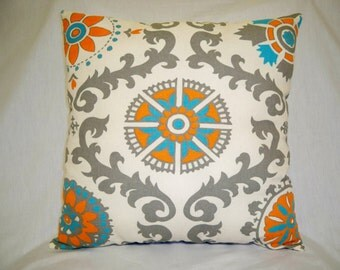 Decorative Pillow, Gray Pillow, Orange Pillow, Cream Pillow, Farmhouse Pillow, Cottage Decor, Farmhouse Decor, Cottage Pillow, Acent Pillow