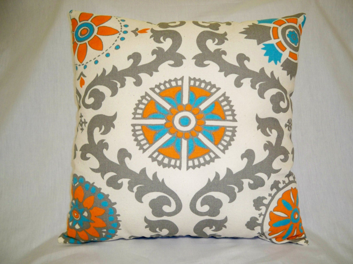 decorative pillow gray pillow orange pillow cream pillow. Black Bedroom Furniture Sets. Home Design Ideas