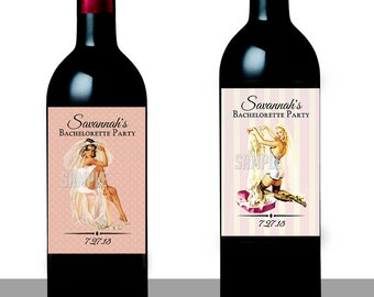 Pin Up Wine Labels- Printable Files