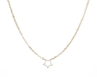 Necklace with Tiny Golden Star Charm