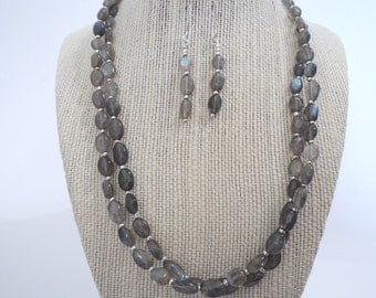 Labradorite Oval Silver Grey Double Strand Earrings SetNecklace silver gift  fashion under 50