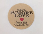Wedding Favor Stickers - S'more Love - Gift Sticker - Save the Date - Customizable - Personalized Tag