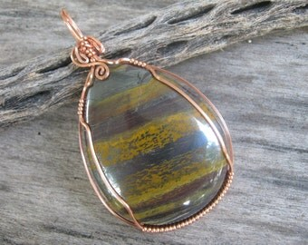 Tiger Iron Pendant, Wire Wrapped in Square Copper, Tiger Eye Red Jasper Hematite Gemstone, READY To SHIP