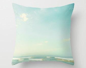 Pillow cover, beach pillow, beach art, mint pillow, aqua pillow, turquoise pillow, pink pillow,coral pillow,nautical,nursery decor