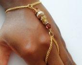 Tibetan Accent Beads Boho Finger Bracelet Hand Chain Hand Bracelet