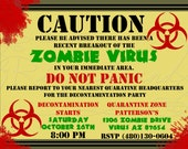 Zombie Virus Halloween Party Invitation - RiverBound