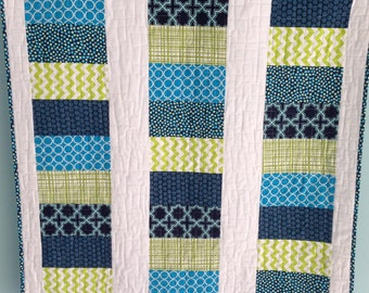 Blue & Lime Green Coin Baby Quilt