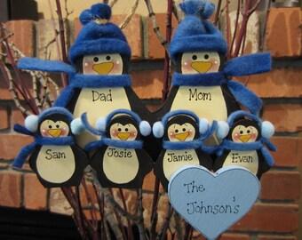 Family of 6: Fleece Penguin Family Ornament