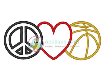 Peace Love and Basketball Applique -- Machine Embroidery Design