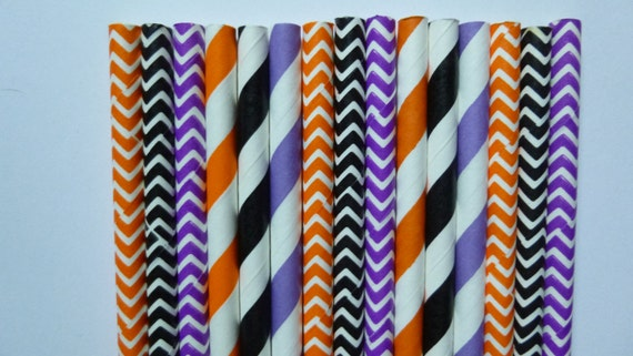 50 Orange, Black and Purple Halloween Mixed Paper Straws- Halloween Decorations, Cake Pops, Spooky Party- Chevrons and Strips