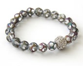Smoky Purple Crystal Bracelet with Clear Crystal Pave Accent Bead