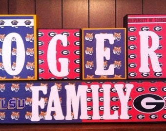 Professional NFL College Football Sport Team Family Name Home Decor Wood Blocks