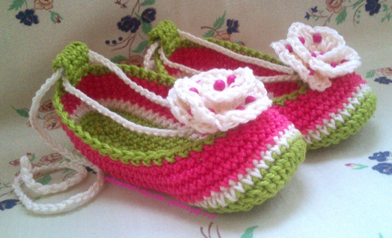 Crochet Slippers/Booties Watermelon for Baby pattern pdf 10