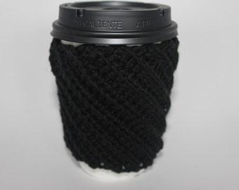 Black Crochet Coffee Cozy