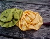 Brooklynn- An olive green and gold yellow satin roses on a super soft elastic headband....birthday....fall..autumn...sage....green...mustard