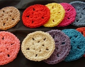 10 Star Facial Scrubbies, Coasters, Assorted Colors as Shown, 100% Cotton, Cleansing Pad, Makeup Remover