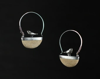 Sterling Silver birds on Ocean stone Earrings