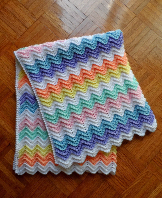 Crochet Baby Blanket Child Afghan Rainbow Of Pastel Colors