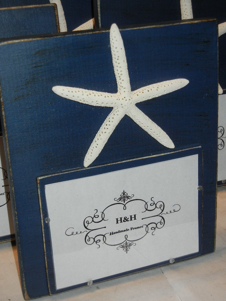 handmade picture frame navy blue aged finish with white. Black Bedroom Furniture Sets. Home Design Ideas