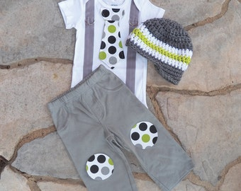 Baby Boy tie Bodysuit with Suspenders, Visor Crocheted Hat, and Knee patch pants GET THE SET - Boy Birthday, Christmas, Baby Shower