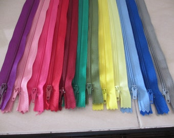 24 New 7 Inches Long Assorted Color Zippers