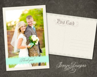 Printable Wedding Thank You Card - Wedding Thanks - Wedding Postcard - Thank you Postcard
