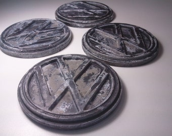 Urban Fossil -  concrete drink coaster fossilized vw art set of 4